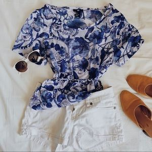 H&M Sheer Floral Blue and White Cover Up Dress